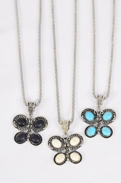 "Necklace Silver Chain Butterfly Semiprecious Stone/DZ match 03451 Pendant-1.25"" x 1"" Wide,Chain-18"" Extension Chain,4 Ivory,4 Black,4 Turquoise Asst,Hang Tag & OPP Bag & UPC Code"