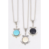 "Necklace Silver Chain Metal Antique Anchor Semiprecious Stone/DZ match 03086 Pendant-1.75"" x 1.5"" Wide,Chain-18"" Extension Chain,4 Ivory,4 Black,4 Turquoise Asst,Hang Tag & OPP Bag & UPC Code"