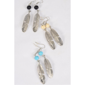 "Earrings Metal Feather Semiprecious Stone/DZ match 27618 **Fish Hook** Size-2.25"" x 0.5"" Wide,4 Black,4 Ivory,4 Turquoise Asst,Earring Card & OPP Bag & UPC Code -"