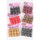 Wooden Beads Large 16 mm Wide Clear Stones/DZ Size-16 mm Wide,Choose Colors,OPP Bag,12 pcs per Bag,12 Bag= Dozen