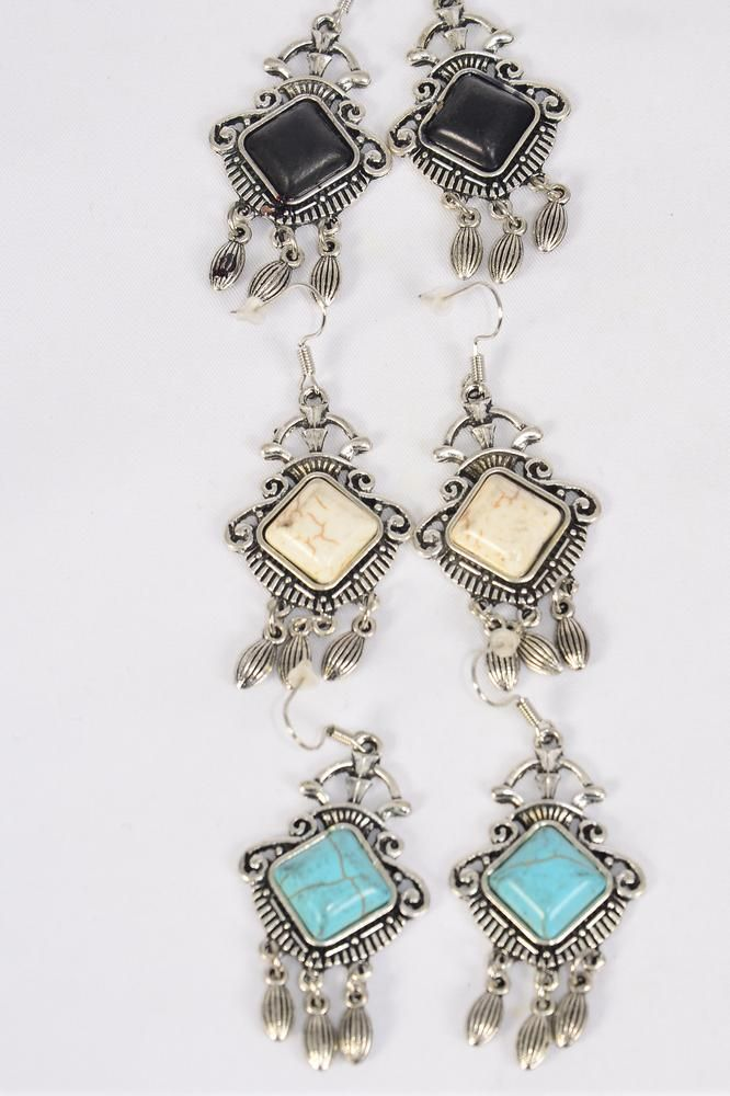 "Earrings Metal Antique Dangles Semiprecious Stone/DZ match 76017 **Fish Hook** Size-1.5""x 1"" Wide,4 Black,4 Ivory,4 Turquoise Asst,Earring Card & OPP Bag & UPC Code -"
