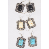"Earrings Metal Antique Oblong Dangle Semiprecious Stone/DZ **Fish Hook** Size-1.25""x 1"" Wide,4 Black,4 Ivory,4 Turquoise Asst,Earring Card & OPP Bag & UPC Code"