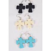 "Earrings Cross Semiprecious Stone/DZ match 70006 **Fish Hook** Size-1.25""x 1"" Wide,4 Black,4 Ivory,4 Turquoise Asst,Earring Card & OPP Bag & UPC Code -"