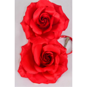 "Flower Silk Tea-Rose Large Red/DZ **Red** Size-5.5"",Alligator Clip & Brooch & Alligator Clip,Hang Tag & UPC Code,W Clear Box"