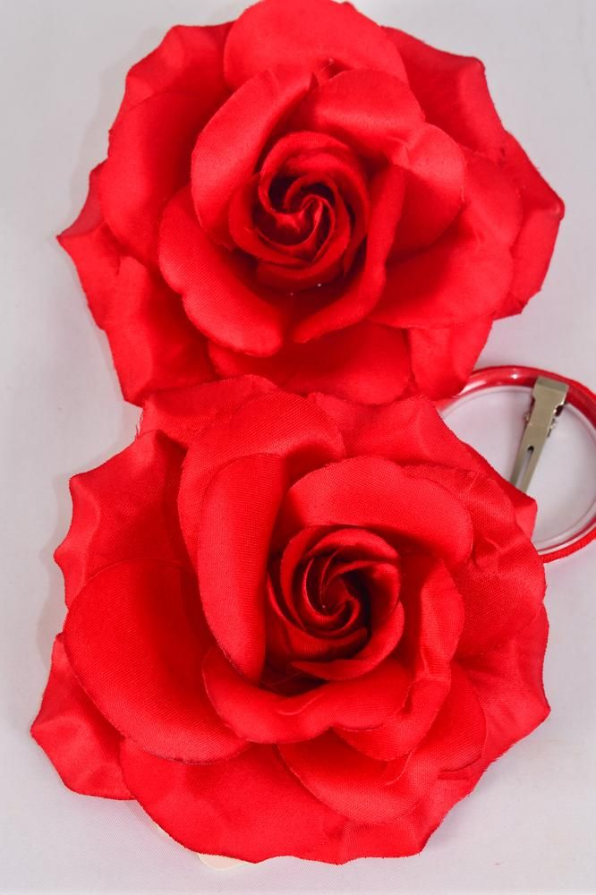 "Flower Silk Tea-Rose Large Red/DZ **Red** Size-5.5"",Alligator Clip & Brooch & Alligator Clip,Hang Tag & UPC Code,W Clear Box"