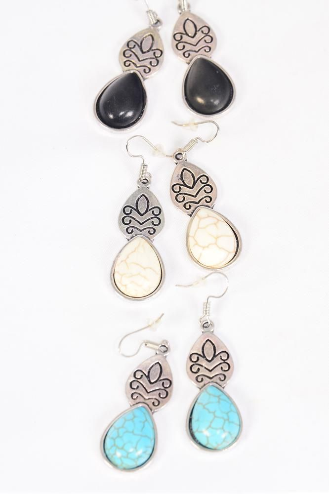 "Earrings Metal Antique Aztec Teardrop Dangle Semiprecious Stone/DZ **Fish Hook** Size-1.5""x 0.75 Wide,4 Black,4 Ivory,4 Turquoise Asst,Earring Card & OPP Bag & UPC Code -"