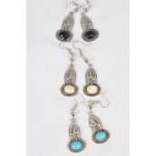 "Earrings Metal Antique Cactus Semiprecious Stone/DZ match 70133 **Fish Hook** Size-1.25"" x 0.75"" Wide,4 Black,4 Ivory,4 Turquoise Asst,Earring Card & OPP Bag & UPC Code -"