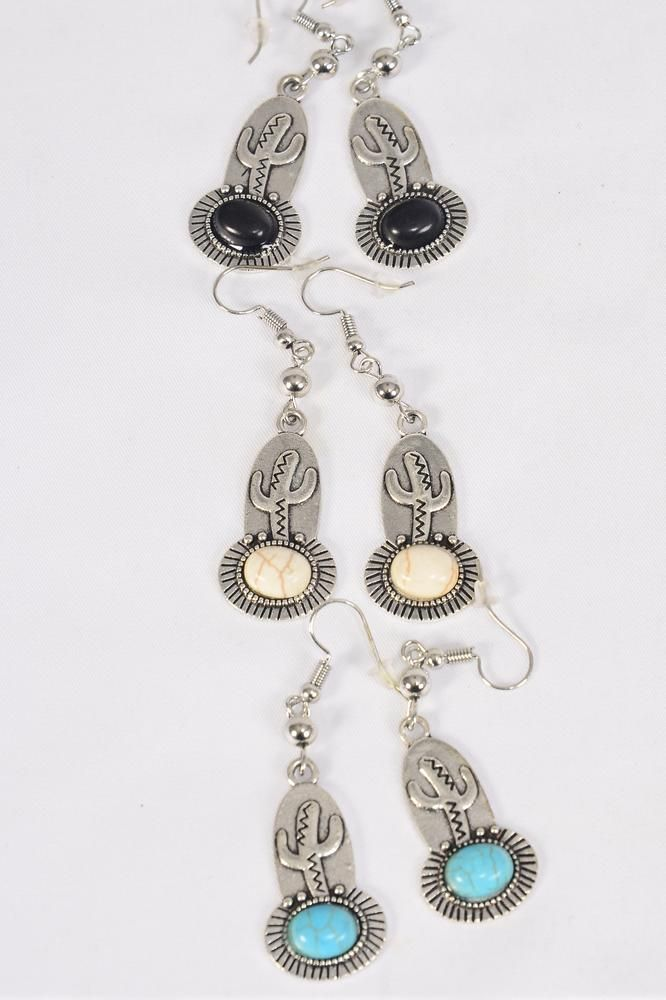 "Earrings Metal Antique Cactus Semiprecious Stone/DZ match 70135 **Fish Hook** Size-1.25"" x 0.75"" Wide,4 Black,4 Ivory,4 Turquoise Asst,Earring Card & OPP Bag & UPC Code -"