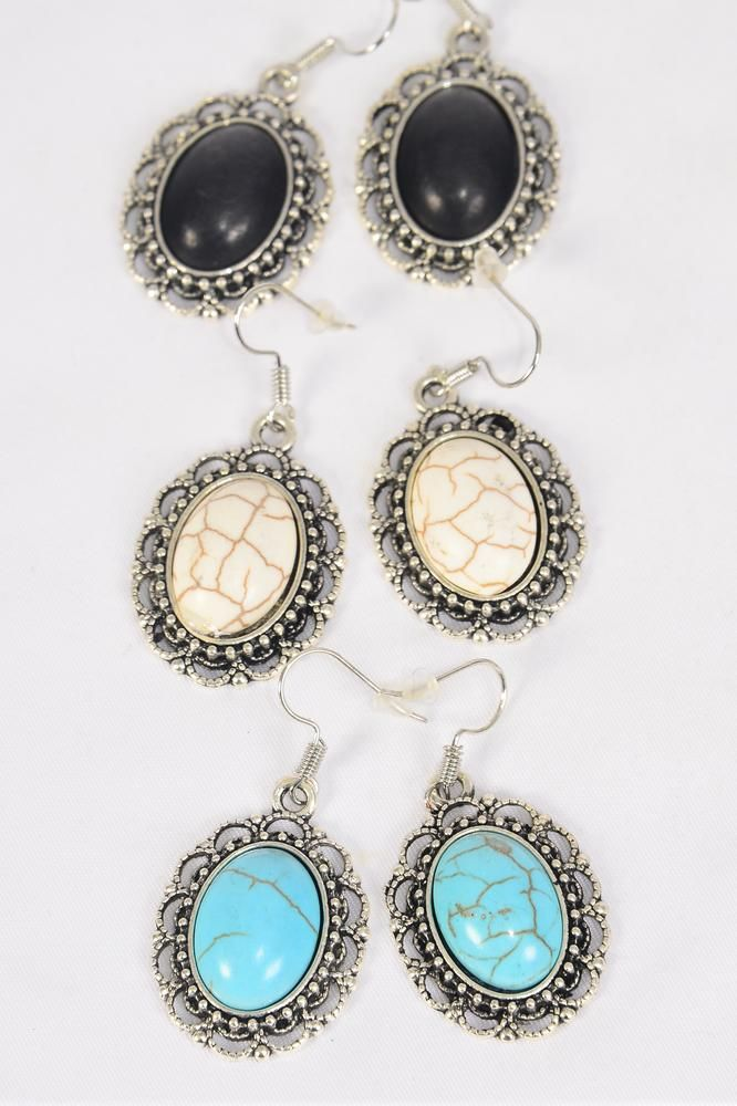 "Earrings Metal Antique Oval Dangle Semiprecious Stone/DZ **Fish Hook** Size-1.25""x 1"" Wide,4 Black,4 Ivory,4 Turquoise Asst,Earring Card & OPP Bag & UPC Code -"