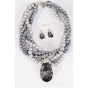 "Necklace Sets Chunky Glass Pearl W Glass Black Diamond Teardrop Pendant/Sets **Gray** Pendant Size- 2""x 1.25"" Wide,16"" Long, Display Card & OPP Bag & UPC Code -"