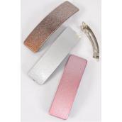"Hair Clip Glitter Gold Silver Pink Asst/DZ **French Clip** Size-4.5"" x 1.25"" Wide,4 of each Pattern Asst,Hang Card & Individual OPP Bag & UPC Code"