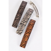 "Hair Clip Brush Stroked Zebra Print/DZ **French Clip** Size-4.5""x 1"" Wide,4 of each Color Asst,Hang Card & Individual OPP Bag & UPC Code"