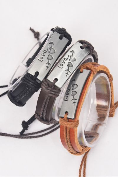 Bracelet Real Leather Band Love Arrow Hearts/DZ **Unisex** Adjustable,4 of each Color Mix,Individual Hang tag & OPP Bag & UPC Code