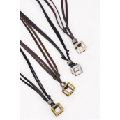 Men's Leather Necklace Geometric/DZ **Adjustable** 6 Black & 6 Brown Leather Mix,3 of each Color Asst,Hang Tag & OPP Bag & UPC Code -