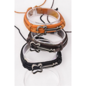 Bracelet Real Leather Side Ways Guitar /DZ **Unisex** Adjustable,6 of each Color Mix,Individual Hang tag & OPP Bag & UPC Code
