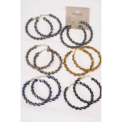 "Earrings Loop Indian Beads Wrap Around/DZ *Post** Size-2.25"" Wide,2 of each Color Asst, Earring Card & Opp Bag & UPC Code -"
