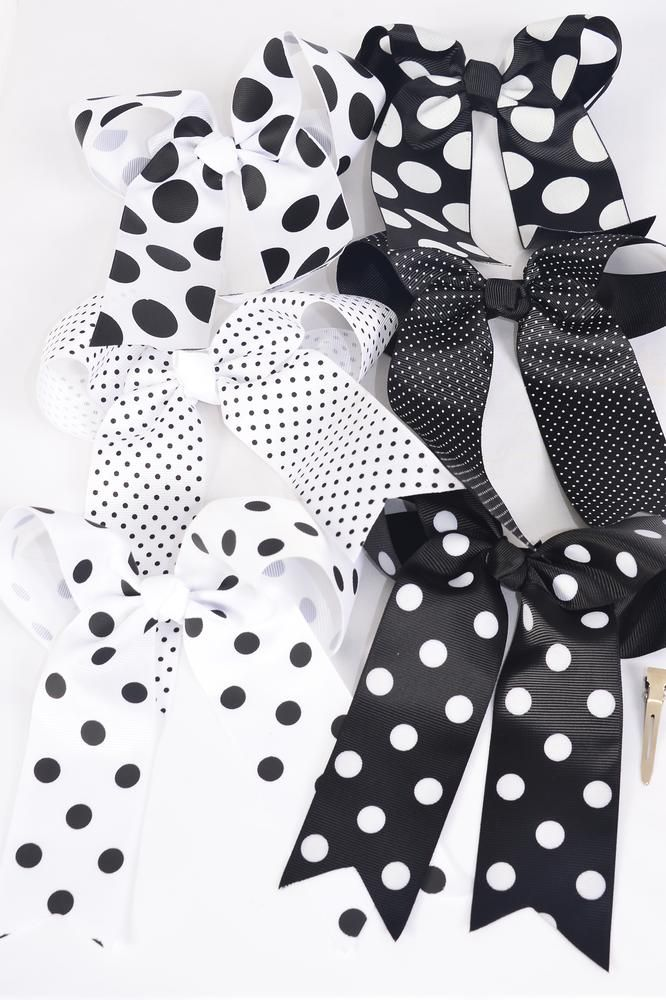 "Hair Bow Jumbo Long Tail Polka-dots Black & White Mix Grosgrain Bow-tie/DZ **Black & White Mix** Alligator Clip,Size-6.5"" x 6"" Wide,2 of each Pattern Asst,Clip Strip & UPC Code"