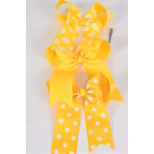 "Hair Bow Long Tail Polkadots Yellow Mix Grosgrain Bowtie/DZ **Yellow Mix** Alligator Clip,Size-6.5""x 6"" Wide,4 of each Color Asst,Clip Strip & UPC Code"
