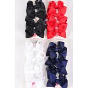 "Hair Bows 48 pcs Grosgrain Bow-tie Red White Black Navy Mix/DZ **Red White Black Navy Mix** Alligator Clip,Bow Size-3""x 2"" Wide,3 of each Color Asst,4 pcs per card,12 card=Dozen"