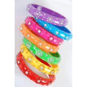 "Bangle Acrylic Flower Stones All Around/DZ Size-0.75""x 2.75"" Dia Wide,Choose Colors,each has Hang Tag & Opp bag & UPC Code -"