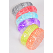 "Bangle Acrylic Candy Stripes multi/DZ Size-2.75"" x 1"" Dia Wide,2 Purple,2 Lime,2 Red,2 Blue,2 Black,1 Orange,1 Yellow,7 Color Asst,Hang tag & OPP bag & UPC Code -"