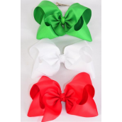"Hair Bow Large 4""x 3"" Wide XMAS Grosgrain Bow-tie/DZ **XMAS** Alligator Clip,Size-4""x 3"" Wide,4 of each Color Asst,Clip Strip & UPC Code"
