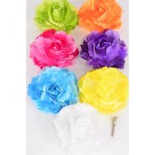 "Silk Flower Jumbo Rose Satin & Lace Mix Alligator Clip & Brooch Multi/DZ **Multi** Size-5"" Wide,Alligator Clip & Brooch,2 Fuchsia,2 Blue,2 White,2 Yellow,1 Purple,1 Red,1 Orange,1 Lime,8 Color Mix."