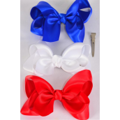 "Hair Bow Large Satin 4""x 3"" Wide Patriotic Red White Royal Blue Mix Satin/DZ **Red White Royal Blue Mix** Alligator Clip, Size-4""x 3"" Wide,4 of each Color Asst,Clip Strip & UPC Code"