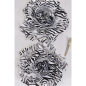 "Silk Flower White Zebra Print Alligator Clip & Brooch/DZ ***White Zebra** Flower Size-4"" Wide,Alligator Clip & Brooch,Display Card & UPC Code,W Clear Box"