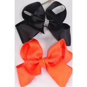 "Hair Bow Jumbo Black Orange Mix Grosgrain Bow-tie/DZ **Black & Orange** Alligator Clip,Size-6 x 5"" Wide,6 Of each Color Asst,Clip Strip & UPC Code,12 pair= Dozen"