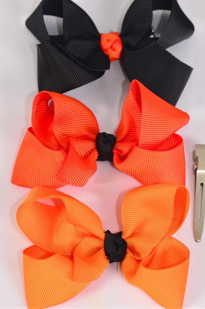 "Hair Bow Halloween Bow-tie 3""x 2"" WGrosgrain Fabric W Alligator Clip/DZ **Alligator Clip**  Bow-3""x 2"",4 of each color Mix,Clip Strip & UPC Code"
