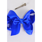 "Hair Bow Large Satin 4""x 3"" Wide Royal Blue Mix/DZ **Royal Blue Mix** Alligator Clip, Size-4""x 3"" Wide,Clip Strip & UPC Code"
