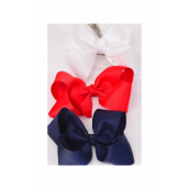 "Hair Bow Large 4""x 3"" Wide Red White Navy Mix Grosgrain Bow-tie/DZ **Red & White & Navy Mix** Alligator Clip,Size-4""x 3"" Wide,4 Red,4 White,4 Navy Color Asst,Clip Strip & UPC Code"