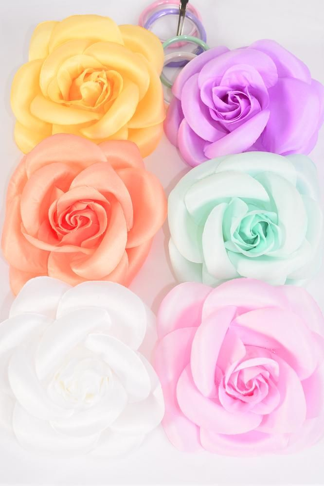"Flower Silk Rose Jumbo Pastel Color Asst/DZ **Pastel** Size-6"",Alligator Clip & Brooch & Elastic hair Tie,2 of each Color Asst,Hang Tag & UPC Code,Clear Box"