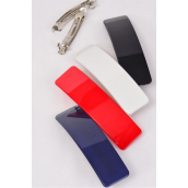 """Hair Clip Red White Black Navy Mix Inner Pack of 4/DZ **French Clip** Size-4.5"""" x 1.25"""" Wide,3 of each Color Asst,Hang Card & Individual OPP Bag & UPC Code"""