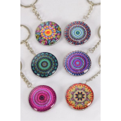 "Key Chain Mandala Double Sided Glass Dome Multi/DZ match 03301 **Multi** Size-1.5"" Wide,2 of each Design Asst,Hang Tag & OPP Bag & UPC Code"