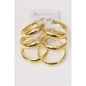 "Earrings 3 pair Metal Hoops Asst Patterns Gold/DZ **Gold** Size-2"" Wide,Earring Card & OPP Bag & UPC Code,3 Pair per Card,12 Card= Dozen -"