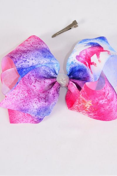 "Hair Bow Jumbo Cheer Type Bow Enchanted Unicorn Ink Splatter Center Metallic Silver Grosgrain Bow-tie/DZ **Alligator Clip** Size-8""x 7"" Wide,Clip Strip & UPC Code"