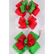 "Hair Bow Jumbo XMAS Double Layered Mesh Bowtie Red White Green Mix Grosgrain Bow-tie/DZ **Alligator Clip** Size-6""x 6"" Wide,4 of each Color Asst,Clip Strip & UPC Code."