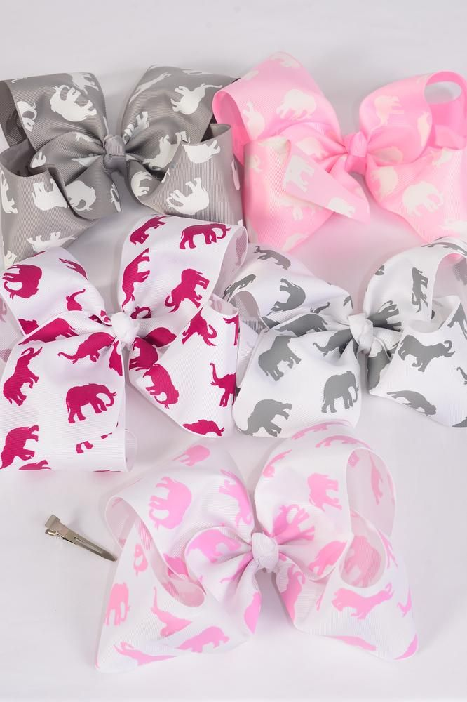 "Hair Bow Jumbo Cheer Type Bow White w Gray Elephants Grosgrain Bow-tie/DZ **Alligator Clip** Size-8""x 7"" Wide,3 White Pink Elephant,3 White Burgundy Elephant,all others come w 2 each,Clip Strip & UPC Code"