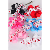 "Hair Bow Loop Bow Ladybug Grosgrain Fabric Alligator Clip/DZ ** Alligator Clip** Bow Size-6""x 5"" Wide,2 of each Color Asst,Display Card & UPC Code,W Clear Box -"