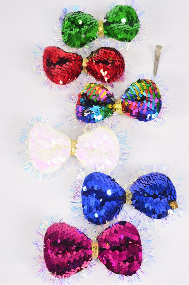 "Hair Bow Large Flip Sequin Iridescent Bowtie Grosgrain Bow-tie Multi/DZ **Alligator Clip** Size-6""x 5"" Wide,12 of each Color Asst,Clip Strip & UPC Code"