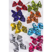 "Hair Bow 24 pcs Zebra Grosgrain Bow-tie/DZ **Multi** Alligator Clip,Size-3""x 2.5"",2 Red,2 Blue,2 Fuchsia,2 White,1 Purple,1 Yellow,1 Lime,1 Orange,8 Color Asst,Clip Strip & UPC Code"