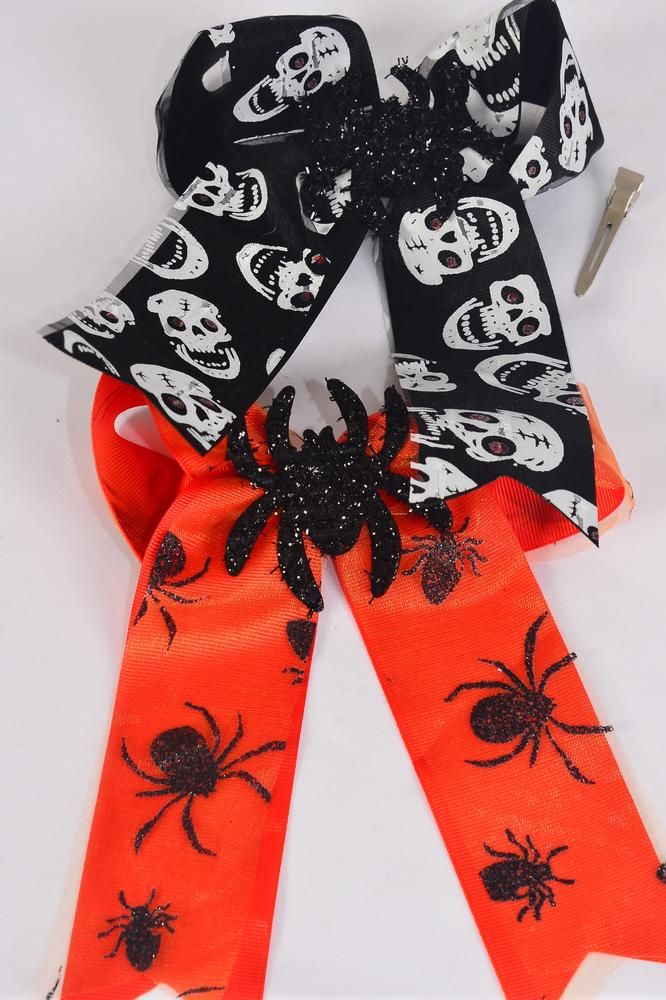 "Hair Bow Jumbo Long Tail Double Layered Halloween Center Spider Grosgrain Bow-tie/DZ **Black & Orange Mix** Alligator Clip,Size-7""x 6"" Wide,6 of each Pattern Asst,Clip Strip & UPC Code"