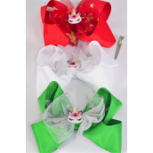 "Hair Bow Jumbo Unicorn XMAS Metallic Grosgrain Bow-tie/DZ **XMAS** Size-6"" x 6"",Alligator Clip,4 Of each Color Asst,Clip Strip & UPC Code"