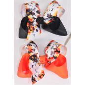 "Hair Bow Jumbo Halloween 2 Tone Haunted Grosgrain Bow-tie/DZ **Alligator Clip** Size-6""x 5"" Wide,6 Of each Color Mix,Clip Strip & UPC Code"