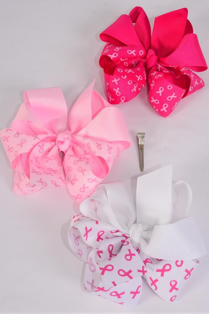 "Hair Bow Jumbo Pink Ribbon Grosgrain Bow-tie/DZ **Alligator Clip** Size-6""x 6"" Wide,4 of each Color Asst,Clip Strip & UPC Code"