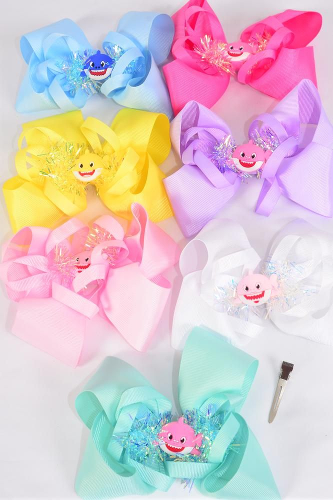"Hair Bow Jumbo Pom Pom Iridescent Center Shark Charm Grosgrain Bow-tie Pastel/DZ **Pastel** Size-6""x 6"" Wide,Alligator Clip,2 White,2 Baby Pink,2 Lavender,2 Hot Pink,2 Mint Green,1 Blue,1 Yellow,7 Color Asst,Clip Strip & UPC Code"