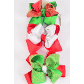 "Hair Bow Jumbo XMAS Double Layered Bow Gold Mesh Grosgrain Bowtie Red White Green Mix/DZ **Alligator Clip** Size-6""x 6"" Wide,4 of each Color Asst,Clip Strip & UPC Code"