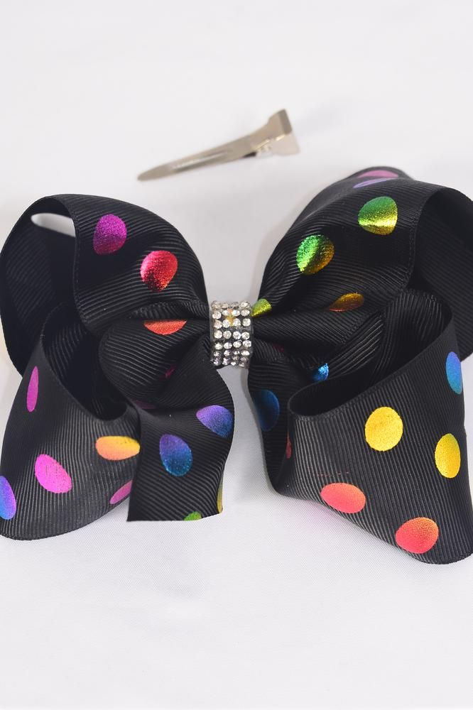 "Hair Bow Jumbo Metallic Holographic Polka-dots Clear Stones Black Grosgrain Bow-tie/DZ **Black** Alligator Clip,Size-6""x 5"" Wide,Clip Strip & UPC Code"